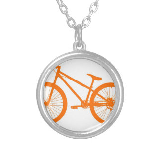 Orange Bike Silver Plated Necklace