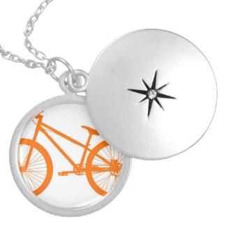 Orange Bike Silver Plated Necklace