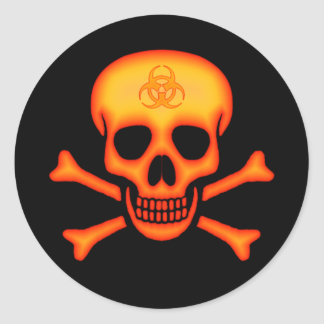 Orange Biohazard Skull Sticker