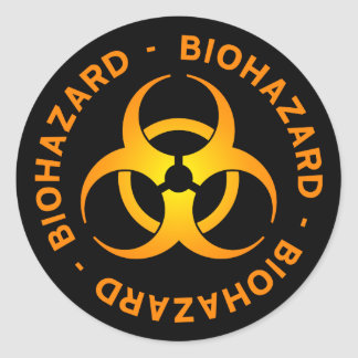 Orange Biohazard Symbol Sticker