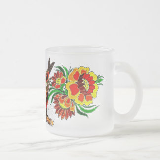 Orange Bird and Floral Deco Frosted Glass Mug