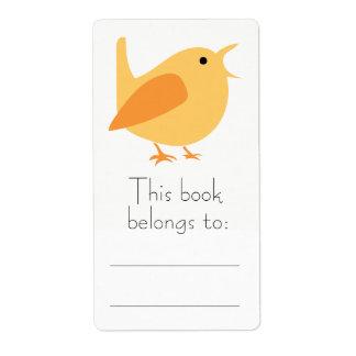 Orange Bird Bookplate Stickers Shipping Label