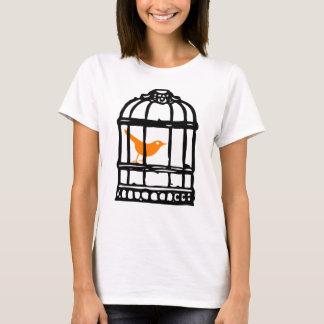 Orange Bird in Cage, Bird House, Bird Cage T-Shirt