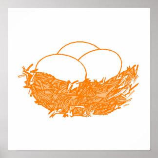 Orange Bird Nest Print