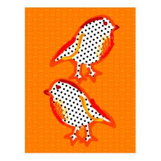 'orange birds' digital painting Postcard