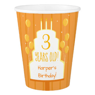 Orange Birthday Cake and Balloons | Paper Cup