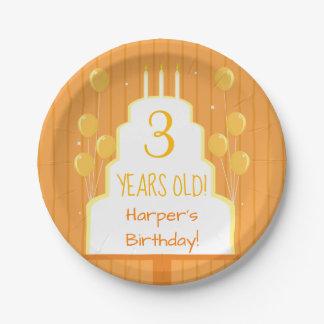 Orange Birthday Cake and Balloons | Paper Plate