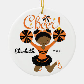 Orange & Black African American Cheerleader Christmas Ornament