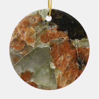 Orange, Black and Clear Quartz Round Ceramic Decoration