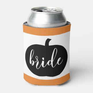Orange Black and White Autumn Bride Can Cooler