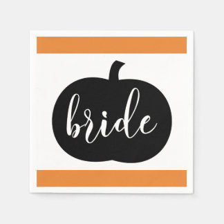 Orange Black and White Fall Bride Paper Napkin