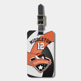 Orange, Black and White Sporty Volleyball Luggage Tag