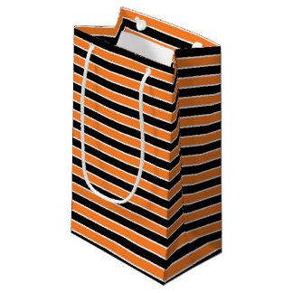 Orange, Black and White Stripes Small Gift Bag
