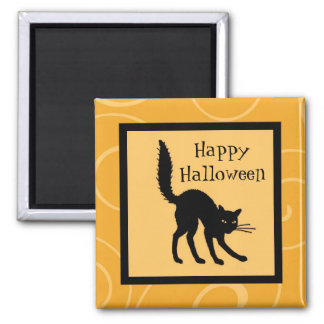 Orange Black Cat Happy Halloween Magnet