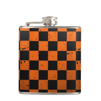 Orange & Black Checkerboard Vinyl Wrapped Flask