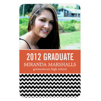 Orange & Black Chevron Graduation Magnet