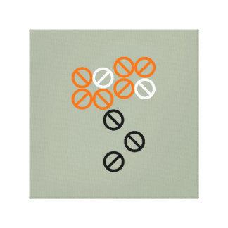 Orange Black Circle Flower Floral in Grey Canvas Canvas Print