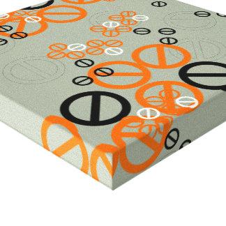 Orange Black Circle Flower Floral in Grey Canvas Canvas Prints