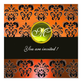 ORANGE  BLACK DAMASK MONOGRAM, yellow topaz 13 Cm X 13 Cm Square Invitation Card