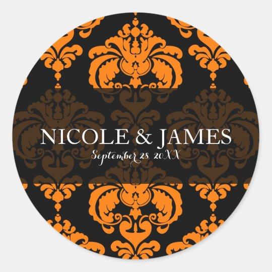Orange Black Damask Vintage Wedding Event Favour Classic
