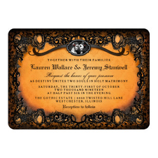 Orange Black Elegant Halloween Skeleton Wedding Card