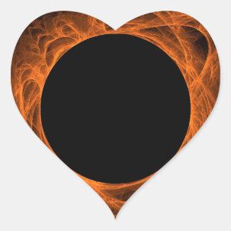 Orange & Black Fractal Background Heart Sticker