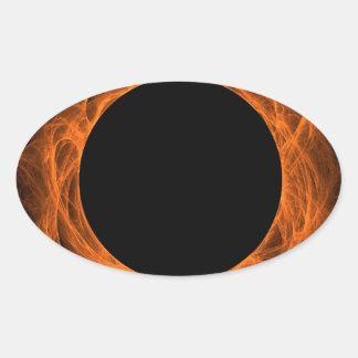 Orange & Black Fractal Background Oval Sticker