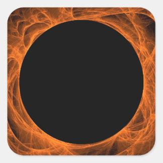 Orange & Black Fractal Background Square Sticker
