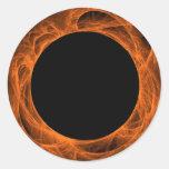 Orange & BLack Fractal BackgroundRound Sticker