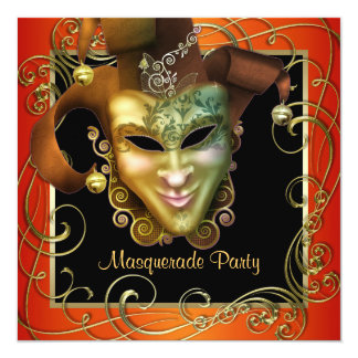 Orange Black Gold Masquerade Party Invitations