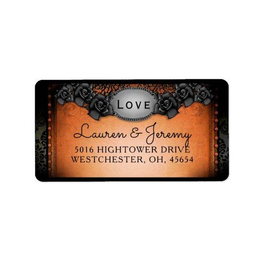 Orange & Black Halloween Matching Wedding Address Address Label