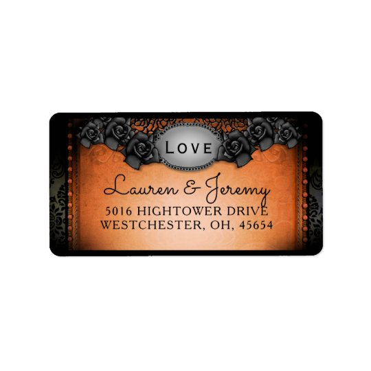 Orange & Black Halloween Matching Wedding Address Label