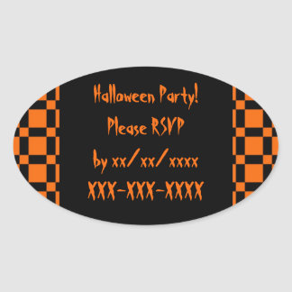 Orange & Black Halloween Party RSVP Sticker
