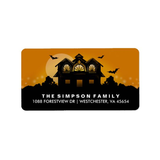 Orange & Black Haunted House Address Labels