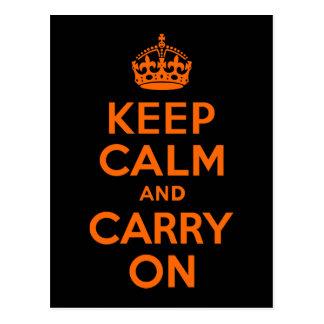 Orange Black Keep Calm and Carry On Postcard