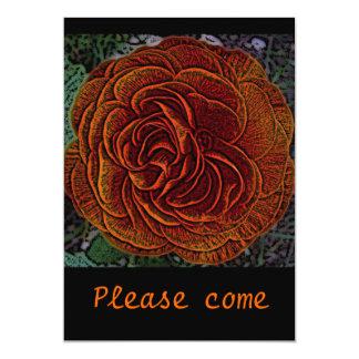 Orange Black Medieval Rose 13 Cm X 18 Cm Invitation Card
