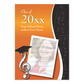 Orange & Black Music Graduation Invitation