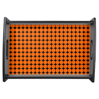 Orange black polka dot modern serving tray