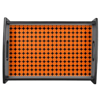 Orange black polka dot modern service trays