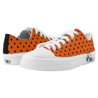 Orange & Black Polkadot Low Tops Printed Shoes