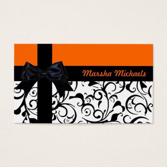 Orange black ribbon damask custom business cards
