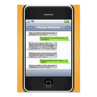 Orange/Black Smart Phone iParty Birthday Party Invite