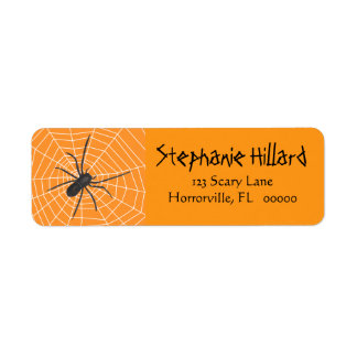 Orange/Black Spider Halloween Return Address Label