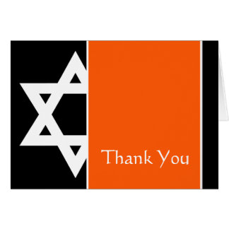 Orange Black Star of David Bar Mitzvah Thank You Card