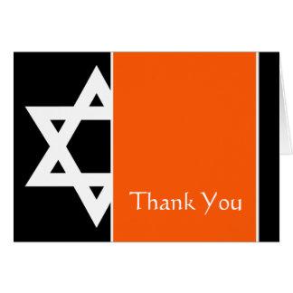 Orange Black Star of David Bar Mitzvah Thank You Note Card