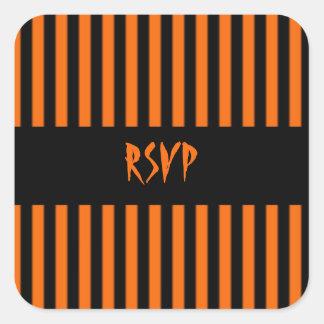 Orange Black Stripe Halloween RSVP Sticker