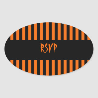 Orange & Black Stripe Halloween RSVP Sticker