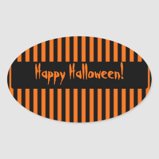 Orange & Black Stripe Halloween Sticker