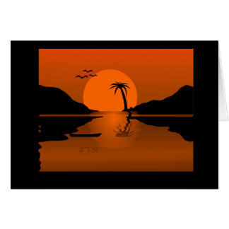 Orange/Black Sunset with Water Scene Greeting Card