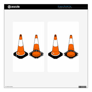 orange black  Traffic cones safety pylons Skin For Kindle Fire